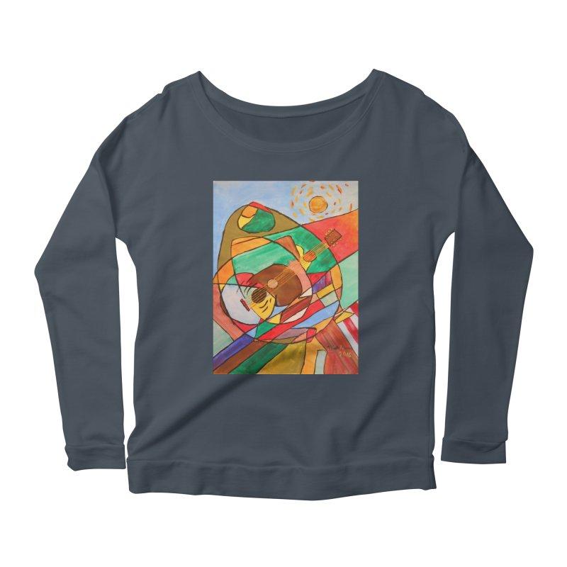 THE GUITARIST Women's Scoop Neck Longsleeve T-Shirt by strawberrymonkey's Artist Shop