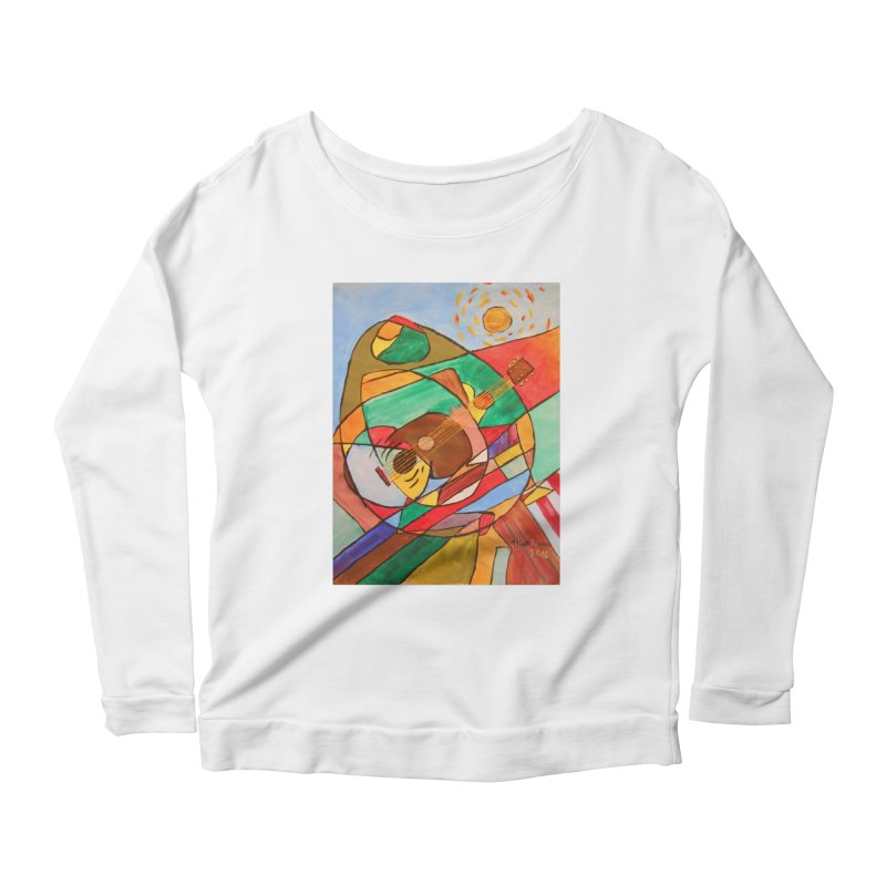 THE GUITARIST Women's Scoop Neck Longsleeve T-Shirt by strawberrymonkey's Artist Shop
