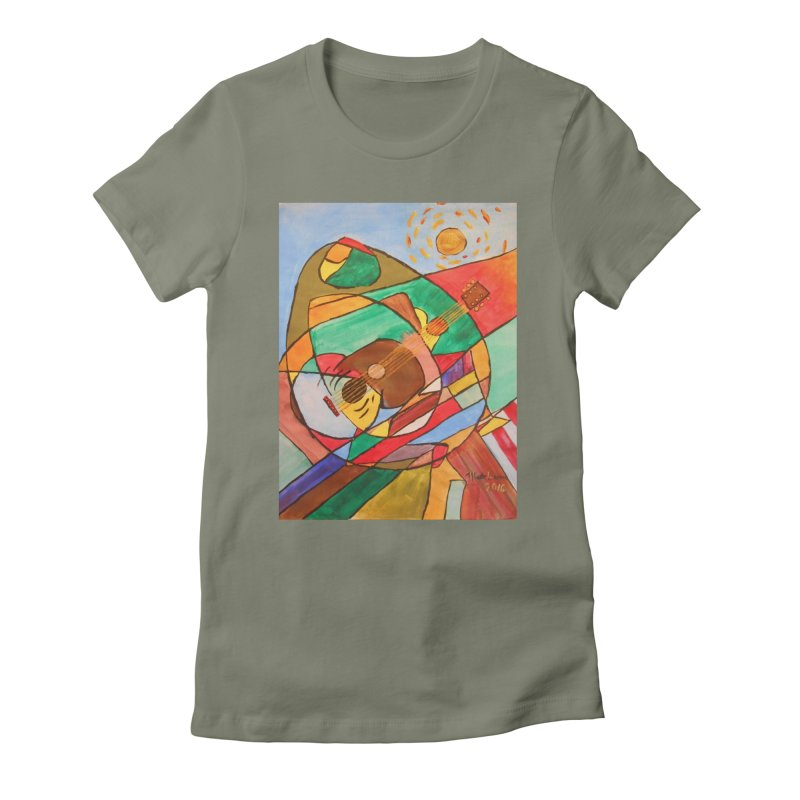 THE GUITARIST Women's Fitted T-Shirt by strawberrymonkey's Artist Shop