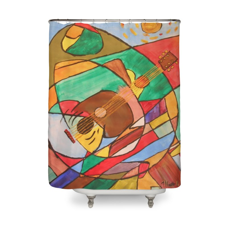 THE GUITARIST Home Shower Curtain by strawberrymonkey's Artist Shop