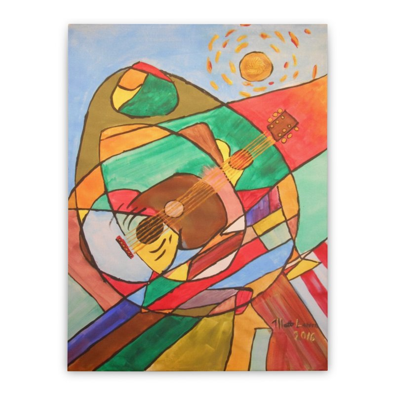 THE GUITARIST Home Stretched Canvas by strawberrymonkey's Artist Shop