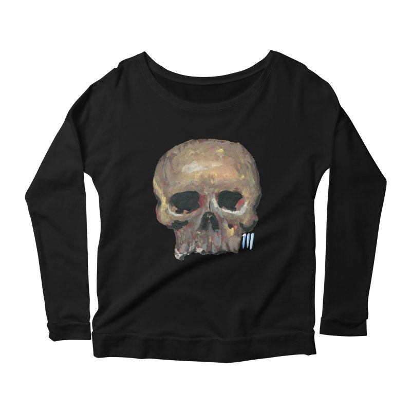 SKULL091815 Women's Scoop Neck Longsleeve T-Shirt by strawberrymonkey's Artist Shop