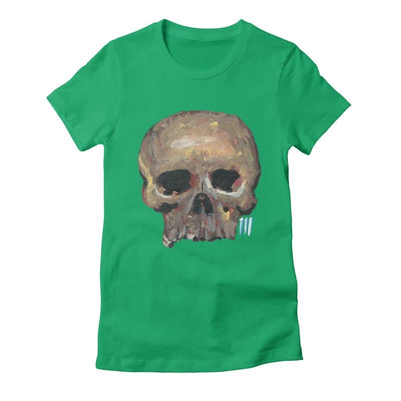 SKULL091815 Women's Fitted T-Shirt by strawberrymonkey's Artist Shop