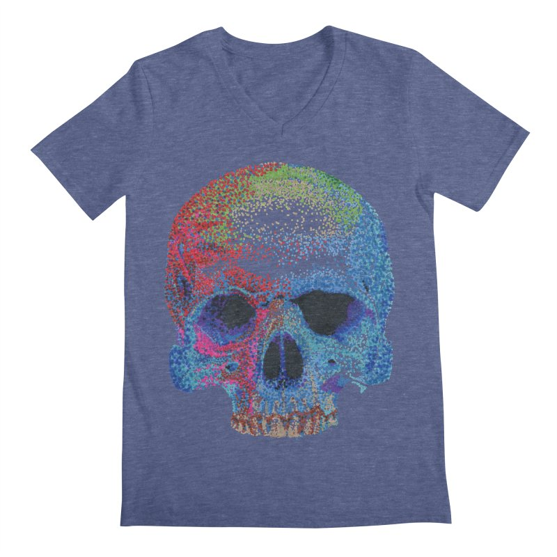 SKULL COLORFUL Men's Regular V-Neck by strawberrymonkey's Artist Shop