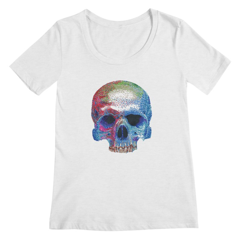 SKULL COLORFUL Women's Scoop Neck by strawberrymonkey's Artist Shop