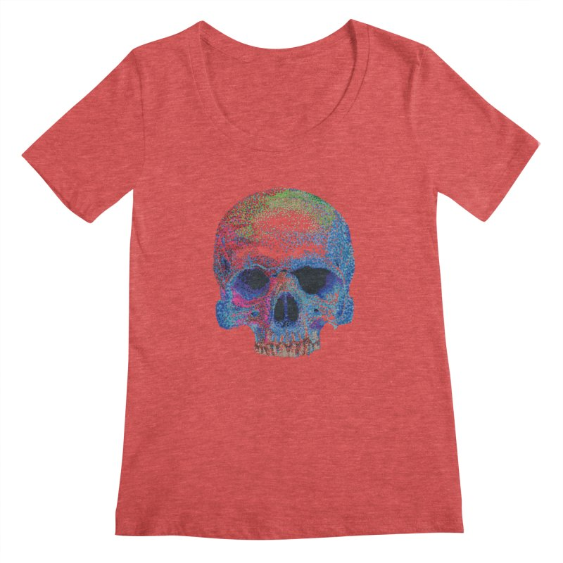 SKULL COLORFUL Women's Scoopneck by strawberrymonkey's Artist Shop