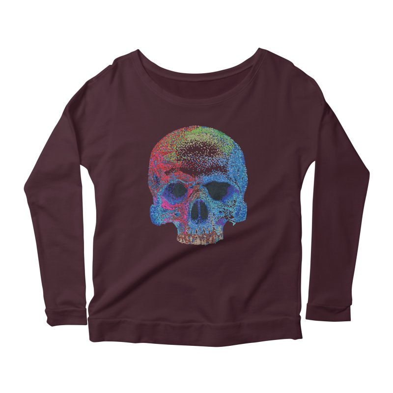 SKULL COLORFUL Women's Longsleeve Scoopneck  by strawberrymonkey's Artist Shop