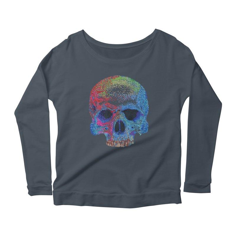 SKULL COLORFUL Women's Scoop Neck Longsleeve T-Shirt by strawberrymonkey's Artist Shop