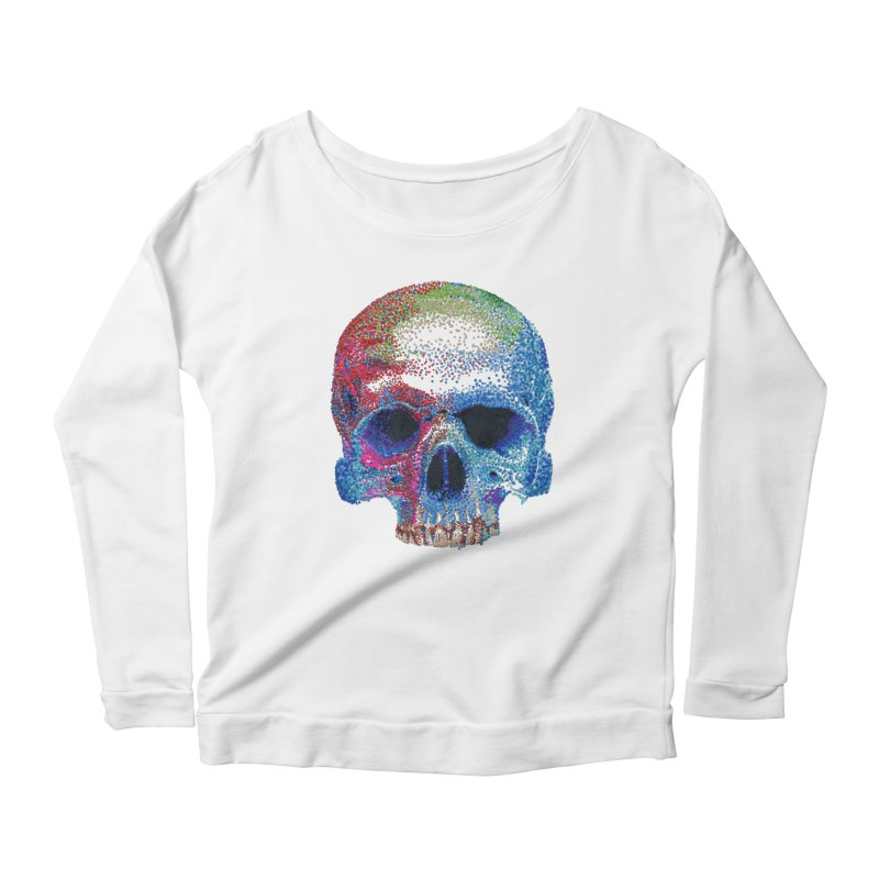 SKULL COLORFUL Women's Scoop Neck Longsleeve T-Shirt by strawberrymonkey's Artist Shop