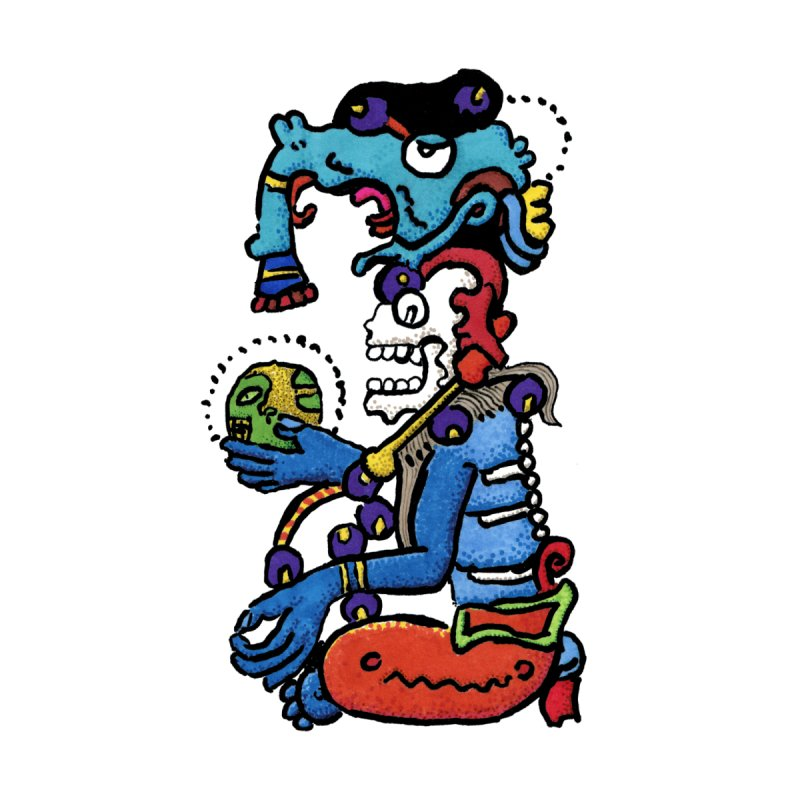 MAYAN DEATH GOD Home Framed Fine Art Print by strawberrymonkey's Artist Shop