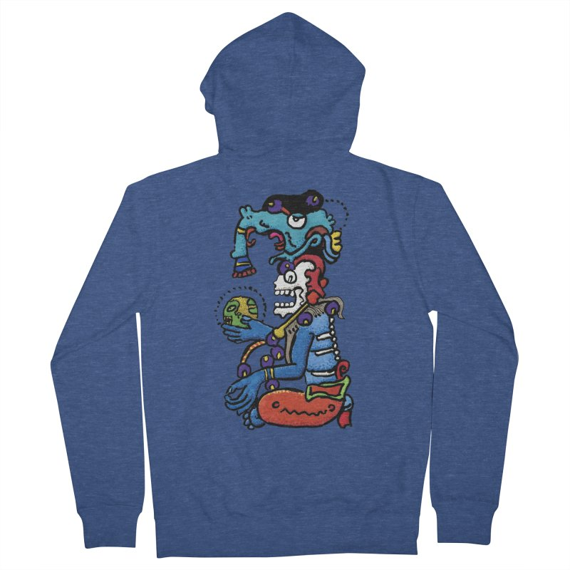 MAYAN DEATH GOD Women's French Terry Zip-Up Hoody by strawberrymonkey's Artist Shop