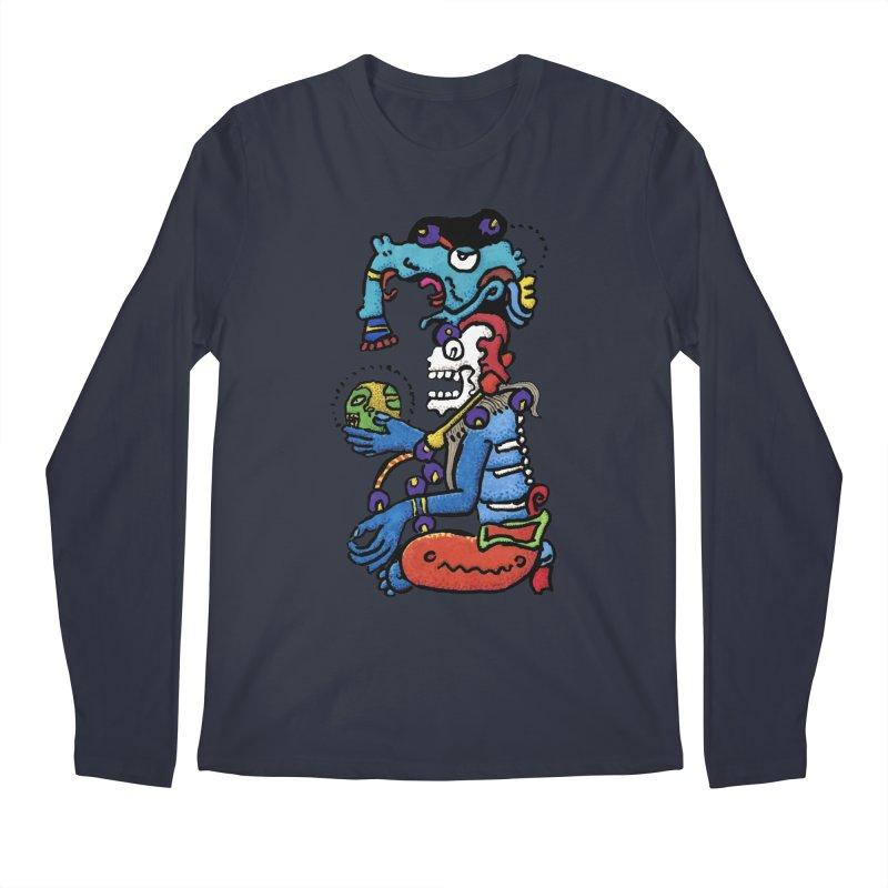 MAYAN DEATH GOD Men's Longsleeve T-Shirt by strawberrymonkey's Artist Shop