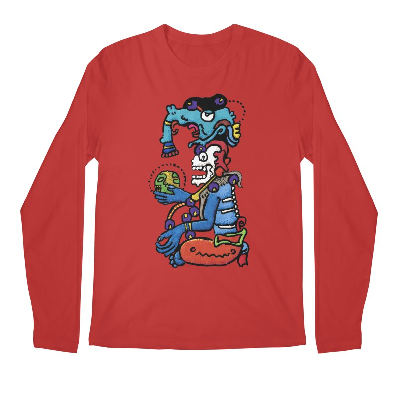 MAYAN DEATH GOD Men's Regular Longsleeve T-Shirt by strawberrymonkey's Artist Shop