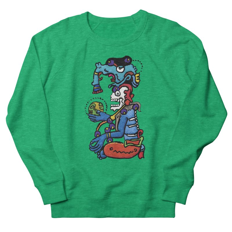 MAYAN DEATH GOD Men's French Terry Sweatshirt by strawberrymonkey's Artist Shop