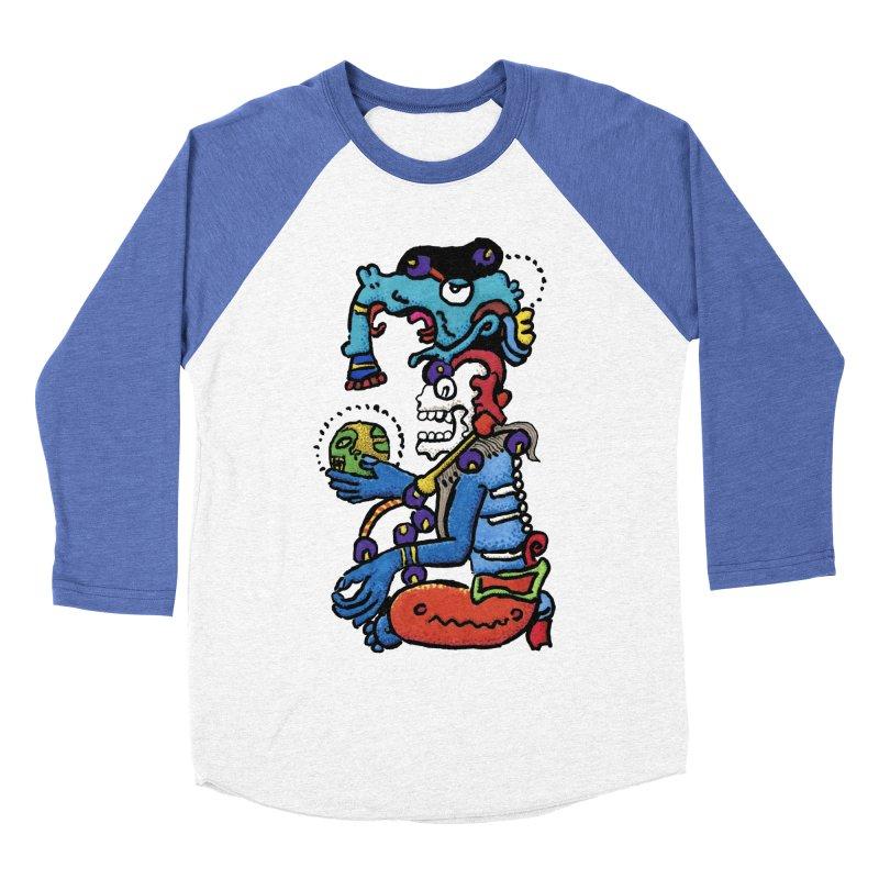 MAYAN DEATH GOD Women's Baseball Triblend Longsleeve T-Shirt by strawberrymonkey's Artist Shop