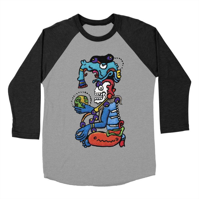 MAYAN DEATH GOD Women's Baseball Triblend Longsleeve T-Shirt by strawberrymonkey's Artist Shop