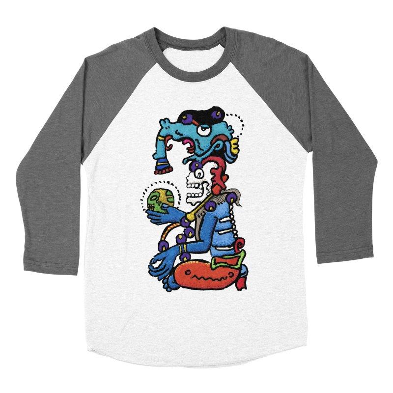 MAYAN DEATH GOD Men's Baseball Triblend Longsleeve T-Shirt by strawberrymonkey's Artist Shop