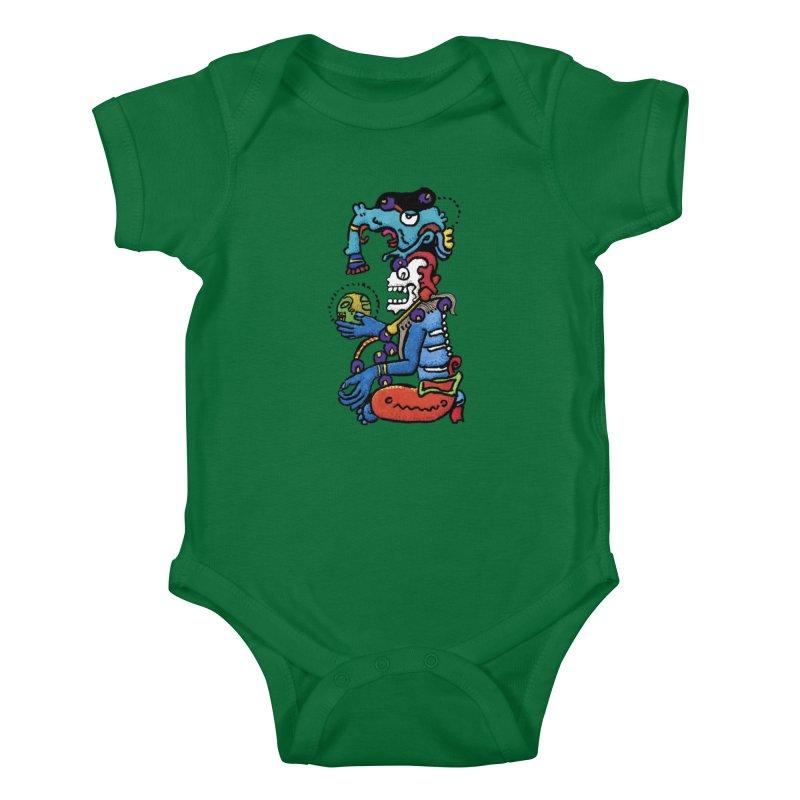 MAYAN DEATH GOD Kids Baby Bodysuit by strawberrymonkey's Artist Shop