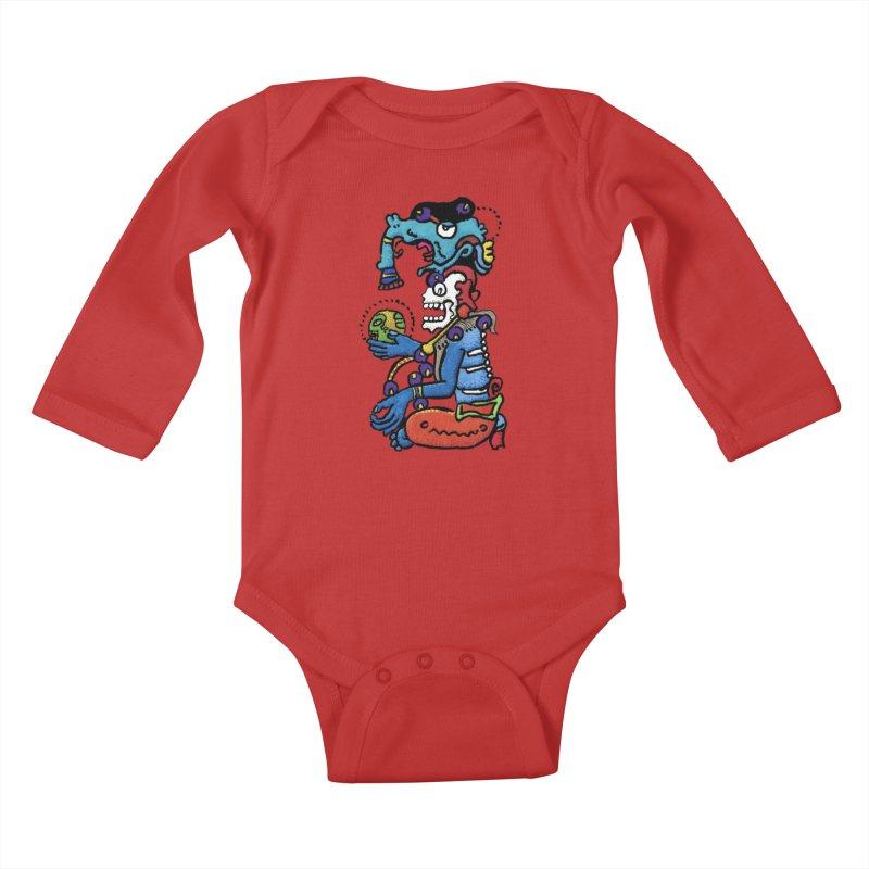 MAYAN DEATH GOD Kids Baby Longsleeve Bodysuit by strawberrymonkey's Artist Shop