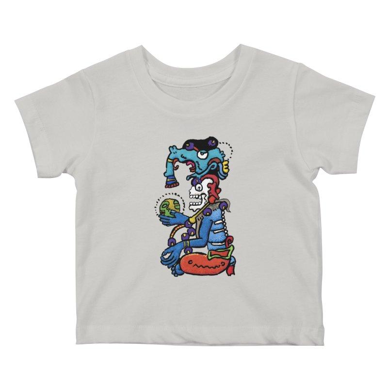 MAYAN DEATH GOD Kids Baby T-Shirt by strawberrymonkey's Artist Shop