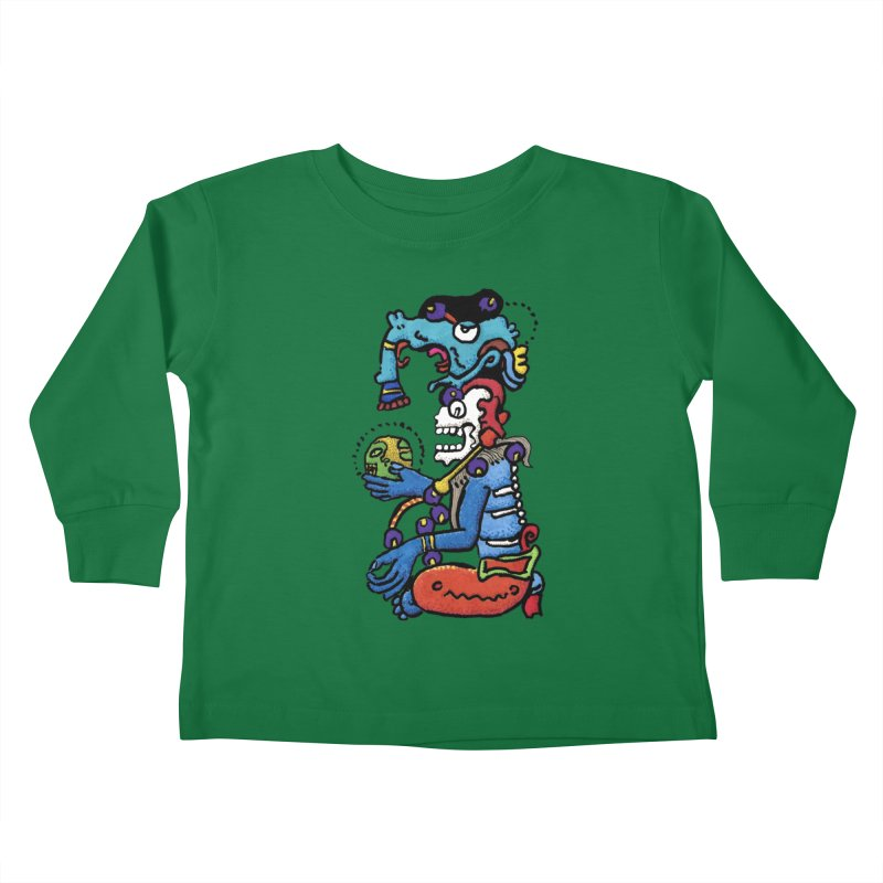 MAYAN DEATH GOD Kids Toddler Longsleeve T-Shirt by strawberrymonkey's Artist Shop