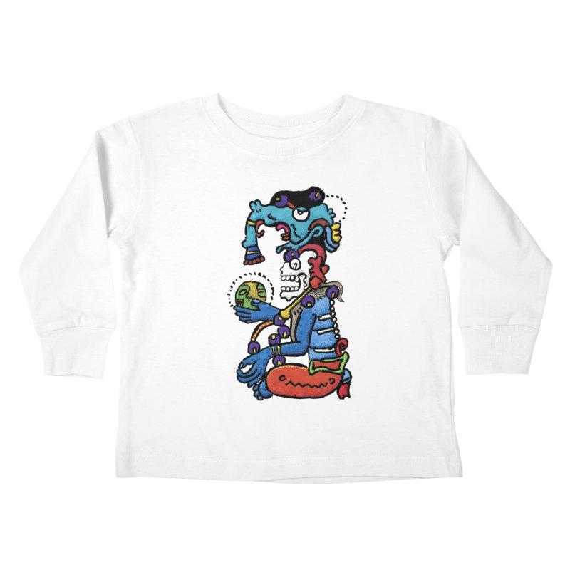 MAYAN DEATH GOD Kids Toddler Longsleeve T-Shirt by strawberrymonkey's Artist Shop