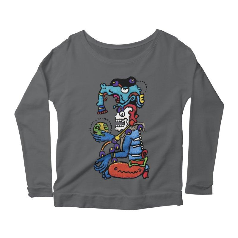 MAYAN DEATH GOD Women's Scoop Neck Longsleeve T-Shirt by strawberrymonkey's Artist Shop