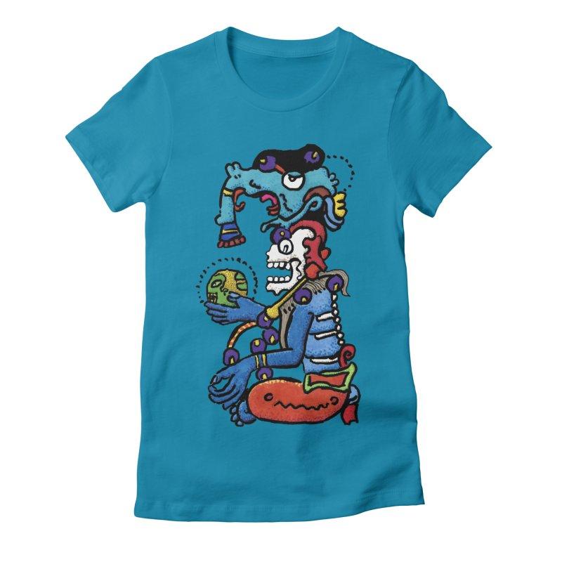 MAYAN DEATH GOD Women's T-Shirt by strawberrymonkey's Artist Shop
