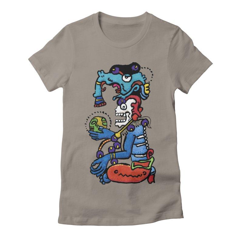 MAYAN DEATH GOD Women's Fitted T-Shirt by strawberrymonkey's Artist Shop