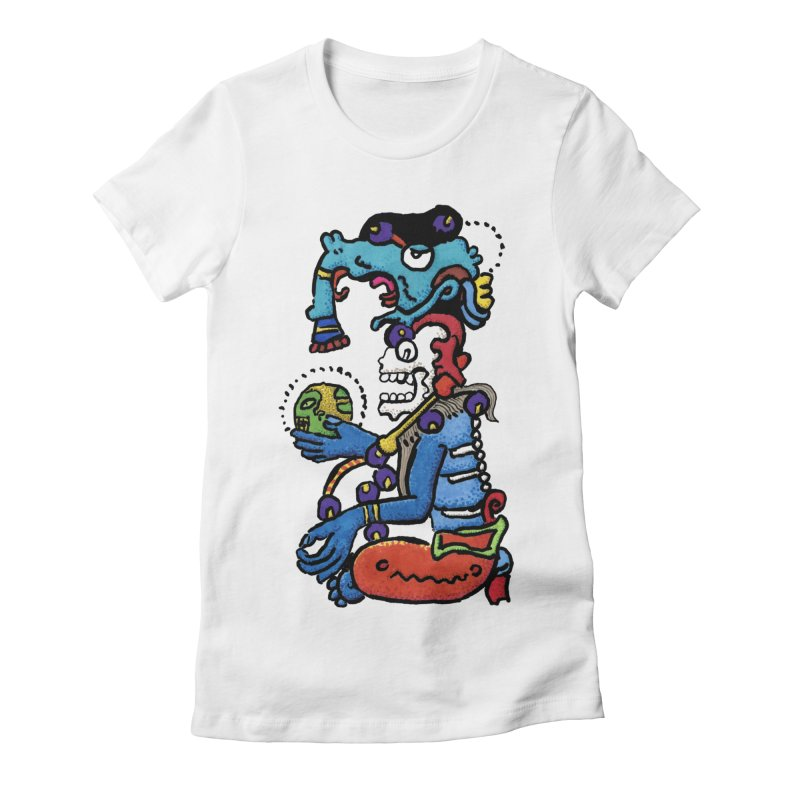 MAYAN DEATH GOD Women's Fitted T-Shirt by strawberrymonkey's Artist Shop