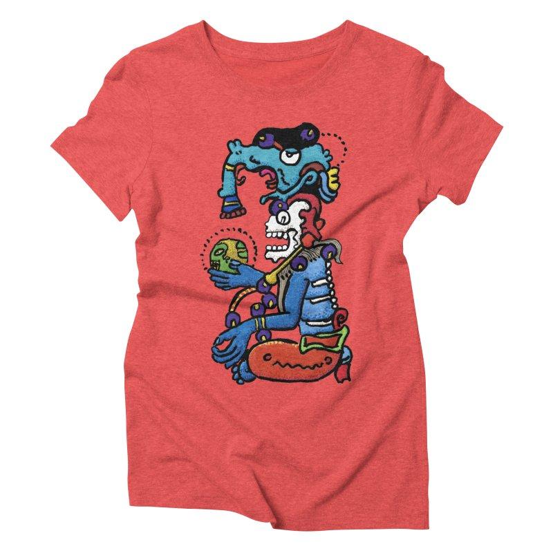 MAYAN DEATH GOD Women's Triblend T-Shirt by strawberrymonkey's Artist Shop