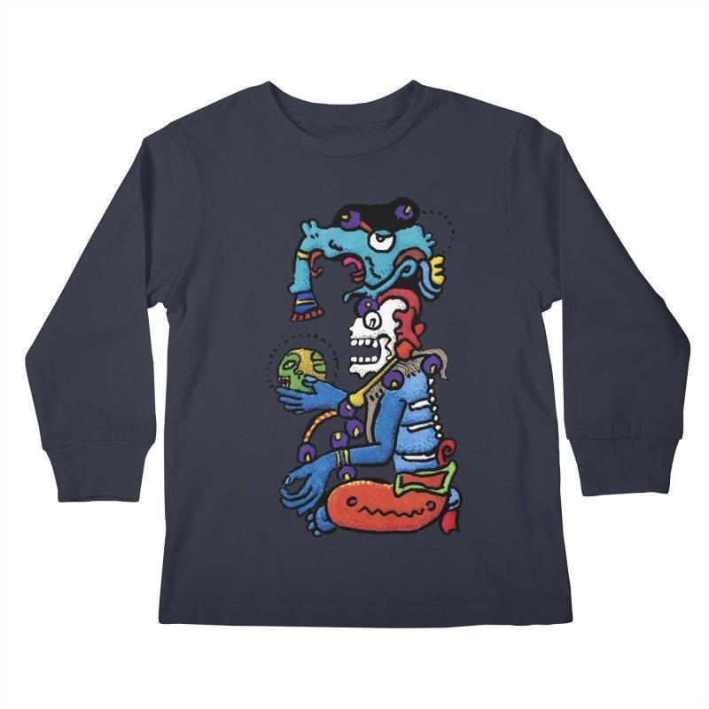 MAYAN DEATH GOD Kids Longsleeve T-Shirt by strawberrymonkey's Artist Shop