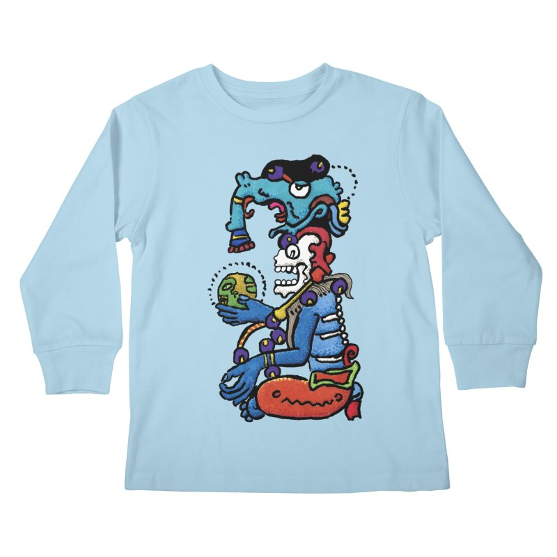 MAYAN DEATH GOD Kids Longsleeve T-Shirt by strawberrymonkey's Artist Shop