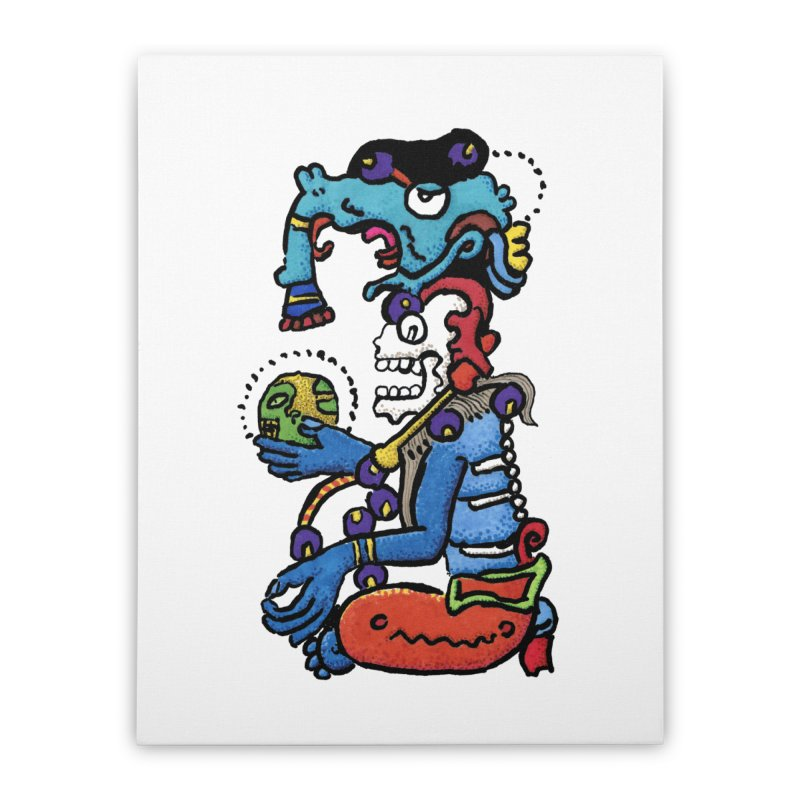 MAYAN DEATH GOD Home Stretched Canvas by strawberrymonkey's Artist Shop