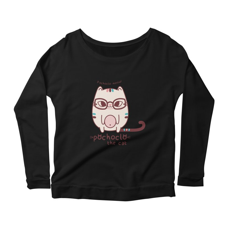 Pochoclo The Cat Women's Longsleeve Scoopneck  by strawberrystyle's Artist Shop
