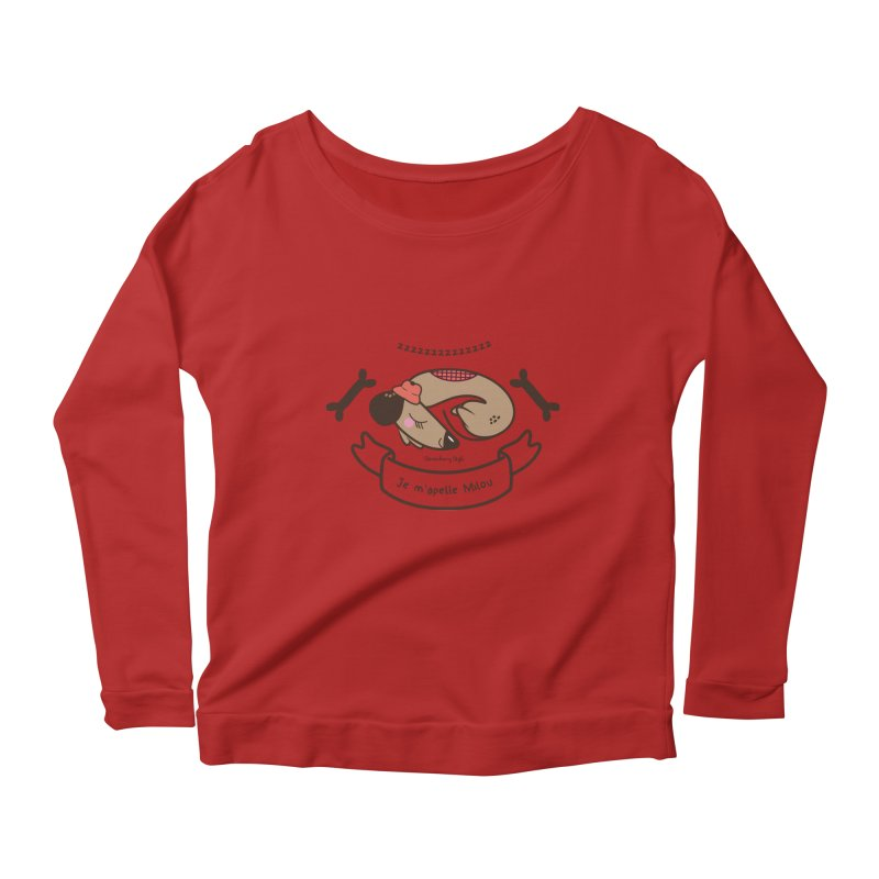 Je m'appelle Milou Women's Longsleeve Scoopneck  by strawberrystyle's Artist Shop