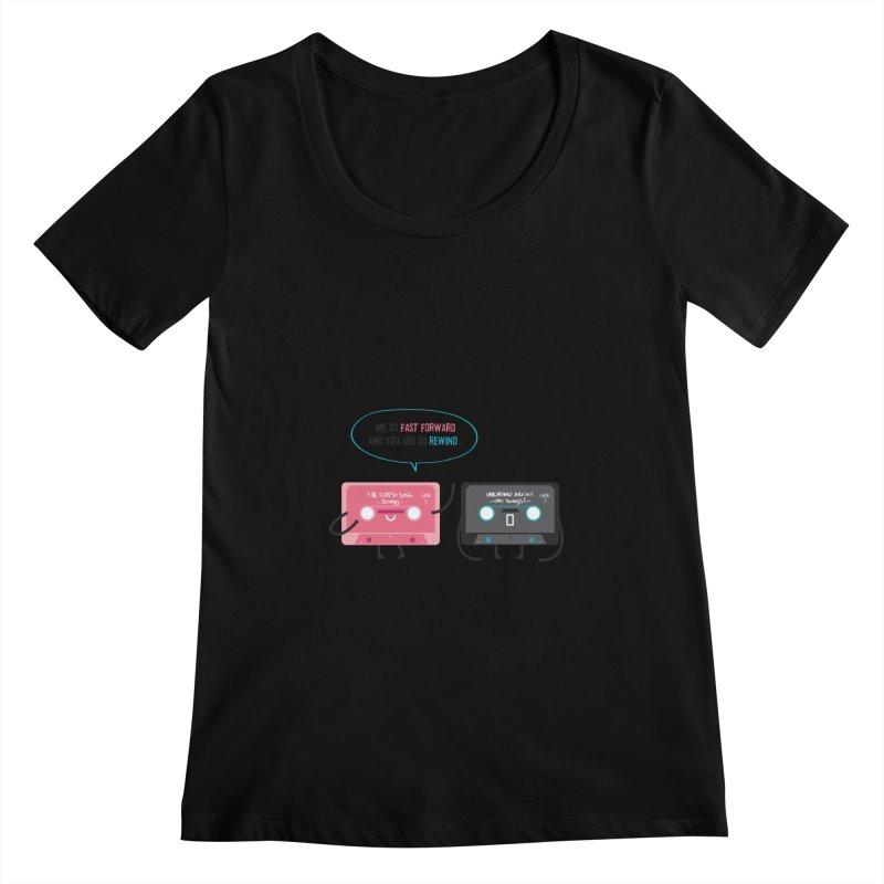 Fast Forward vs Rewind Women's Scoopneck by strawberrystyle's Artist Shop