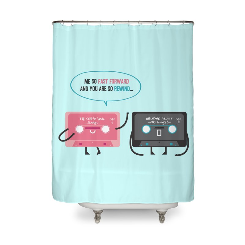 Fast Forward vs Rewind Home Shower Curtain by strawberrystyle's Artist Shop
