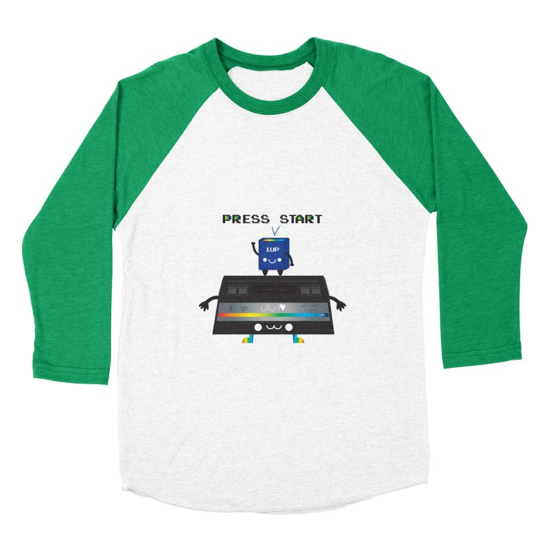Press Start Women's Baseball Triblend T-Shirt by strawberrystyle's Artist Shop