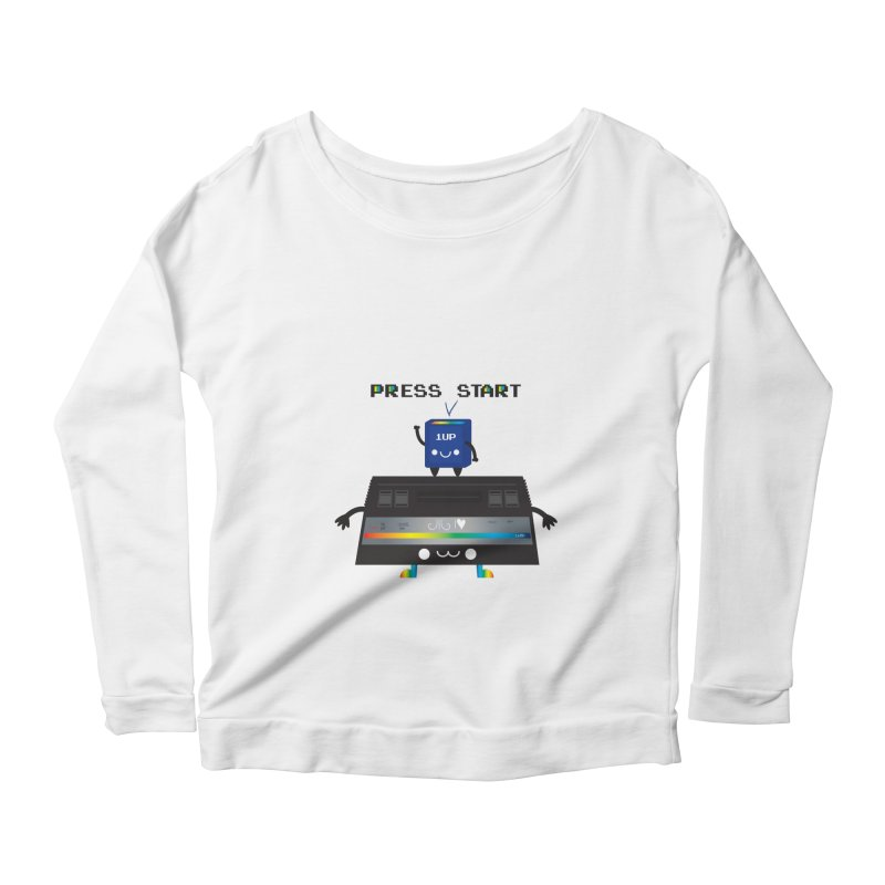 Press Start Women's Longsleeve Scoopneck  by strawberrystyle's Artist Shop