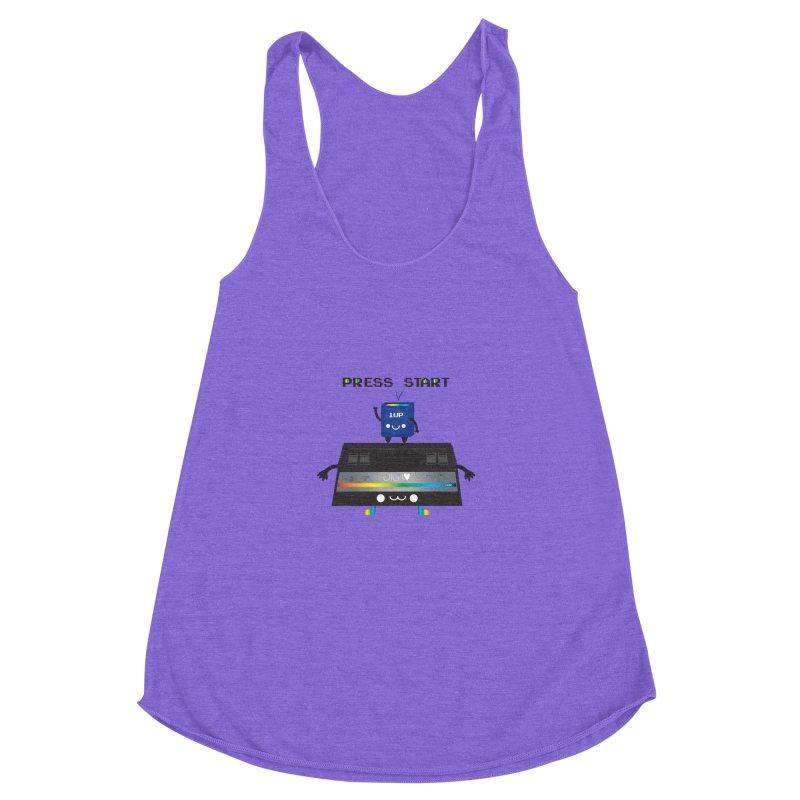 Press Start Women's Racerback Triblend Tank by strawberrystyle's Artist Shop