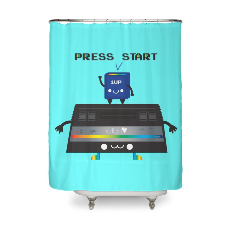 Press Start Home Shower Curtain by strawberrystyle's Artist Shop