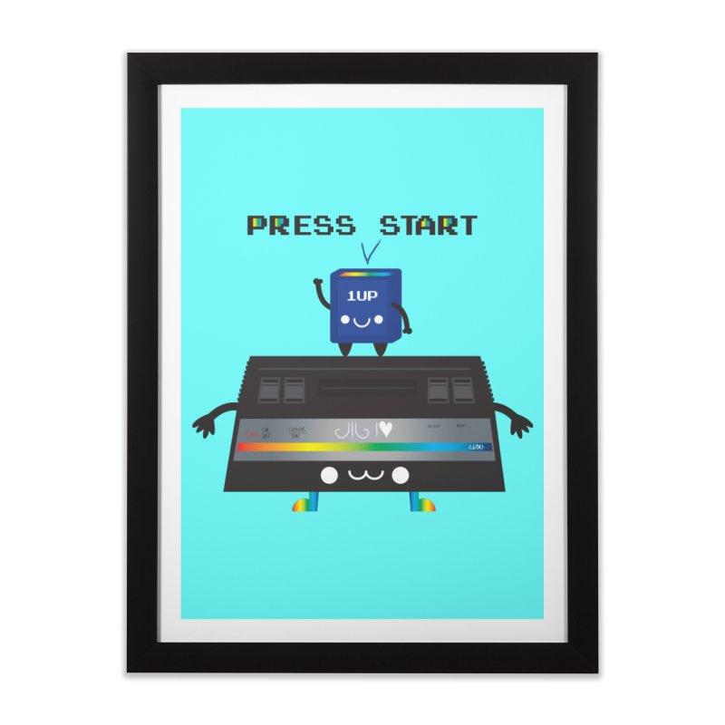 Press Start Home Framed Fine Art Print by strawberrystyle's Artist Shop