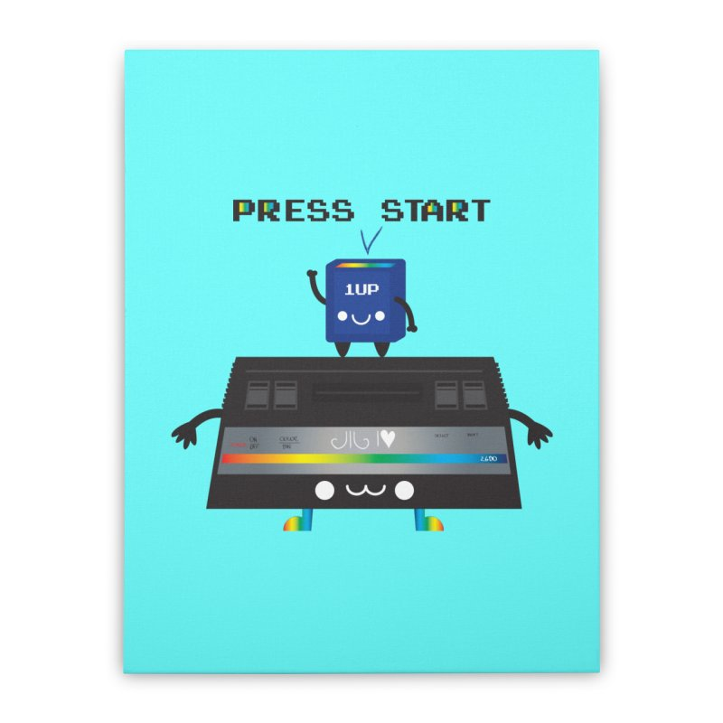 Press Start Home Stretched Canvas by strawberrystyle's Artist Shop