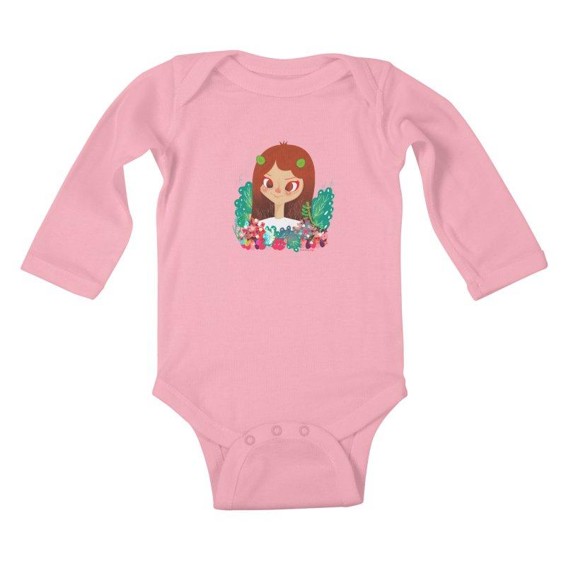Floral Kids Baby Longsleeve Bodysuit by strawberrystyle's Artist Shop