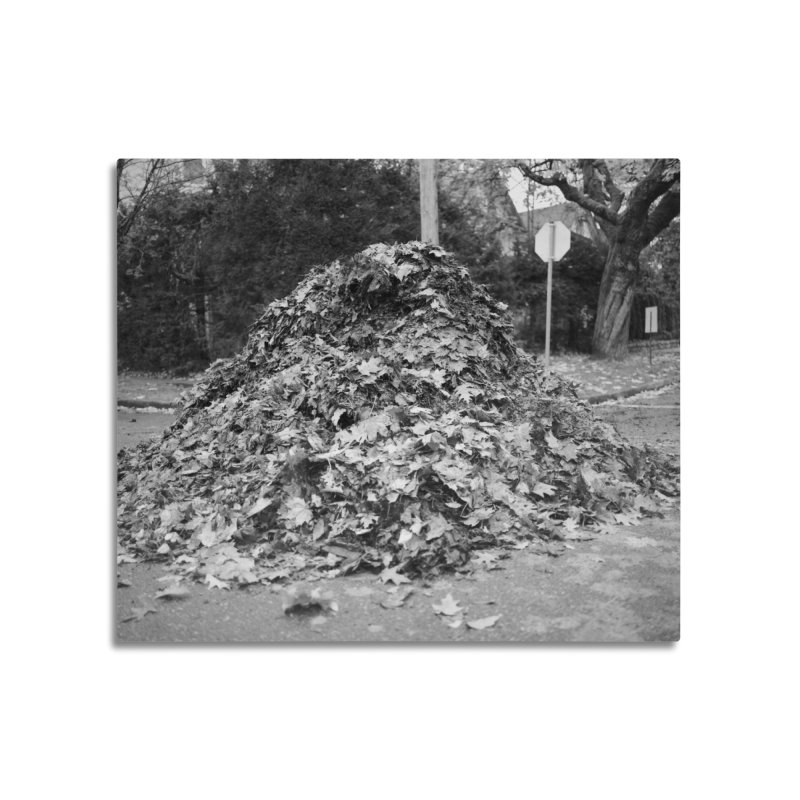 Leaf pile Home Mounted Aluminum Print by Street Sheets