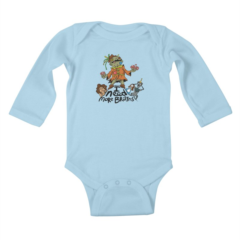 I need more brains Kids Baby Longsleeve Bodysuit by Universe Postoffice