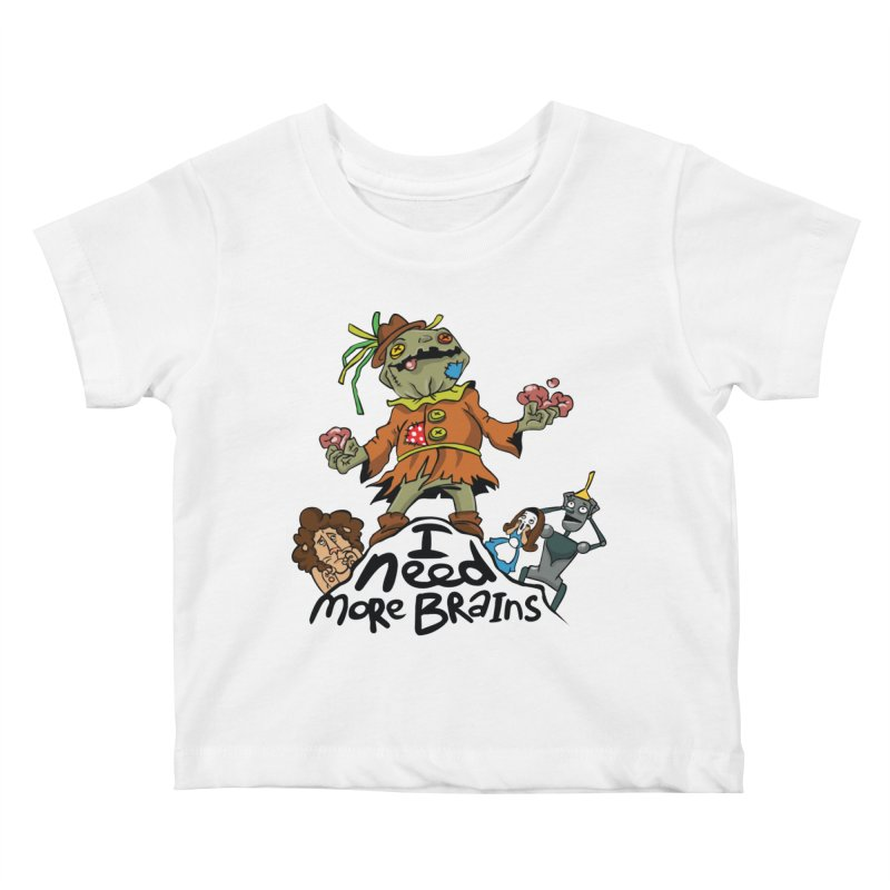 I need more brains Kids Baby T-Shirt by Universe Postoffice