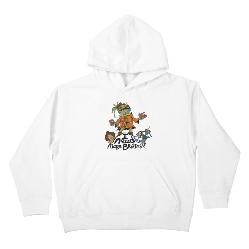 I need more brains Kids Pullover Hoody by Universe Postoffice