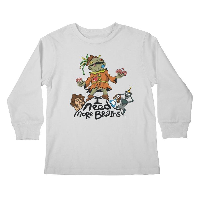 I need more brains Kids Longsleeve T-Shirt by Universe Postoffice